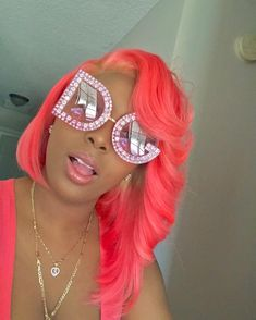 Lace Frontal Wigs Pink Hair Baby Pink Curly Hair For Women – wigbaba Sunglasses For Your Face Shape, Curly Hair Styles, Natural Hair Styles, Ponytail Styles, Colored Wigs, Colored Hair, Rides Front, Ray Bans, Pink Wig