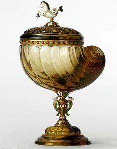 Fabergé Carved Smoky Quartz Nautilus Shell Cup