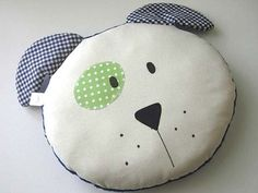 PUPPY PILLOW round Kids Boys/Girls throw by iwantedtowonder (Home & Living, Bedding, Bed Pillows, gingham, kids room decor, puppy throw pillow, kids bedding, room accessory, kids bedroom, birthday gift, white green blue, dog pillow, kids round pillow, teamEtsyKids, blue minky)