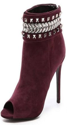 .need these burgundy suede studded ankle boots in my life (high heel booties)