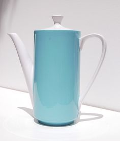 Mikasa focus shape coffeepot. Blue possibly matching the Kerry Blue dishes.