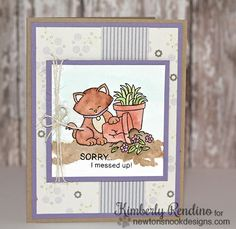 Sorry card with Naughty Kitty by Kimberly Rendino | Naughty Newton Stamp set by Newton's Nook Designs