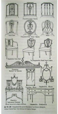 Stoelen repareren! Hepplewhite and Sheraton Furniture examples of Georgian Style. 1783-1800
