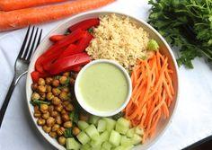 Crispy Chickpea Salad with Lemon Parsley Tahini Dressing #meatlessmonday #vegetarian #vegan