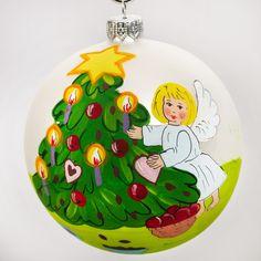 Cherub by a Christmas Tree Ball Christmas Ornament