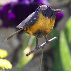 tuteur oiseau jaune en metal recycl artisanat zimbabwe