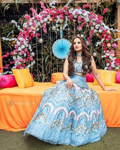 (C) 📸: Studiokellygraphy | Outfit: Ultravoilet_official | Mehendi outfit for your wedding | Cool Blue outfit | #wittyvows #bridesofwittyvows #bluelehenga #mehendibride #wednesdaymood #mehendioutfit #trending #viralpost #wednesdaypost Bridal Lehenga, Bridal Gowns, Summer Wedding Outfits, Wedding Dresses, Blue Lehenga, Indian Lehenga, Mehendi Outfits, Lehenga Designs, Perfect Wedding Dress