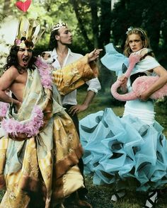 "John Galliano, Alexis Roche and Natalia Vodianova in ""Alice in Wonderland"" by Annie Leibowitz for Vogue December 2003."
