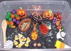 October sensory tub, Halloween sensory tub, Halloween sensory bin.