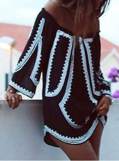 Sexy Off-The-Shoulder Long Sleeve Printed Women's Dress