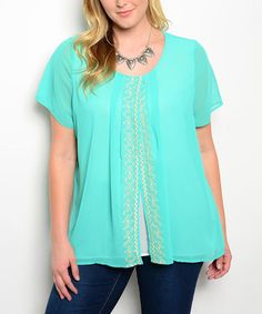 Mint Embroidered Slit Top - Plus #zulily #zulilyfinds