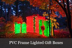Christmas Gift Box Ideas - Make giant lighted gift boxes using a pvc frame. Outdoor Christmas Presents, Diy Christmas Yard Decorations, Gingerbread Christmas Decor, Christmas Present Boxes, Diy Christmas Lights, Christmas Yard Art, Christmas Mom, Christmas Crafts, Christmas Boxes