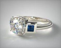 14K White Gold Blue Sapphire and Pave Halo Engagement Ring