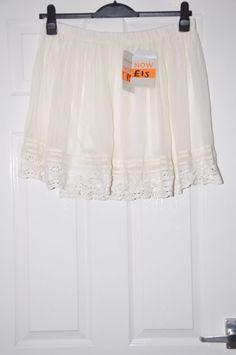 Ladies skirt *S15* River Island new  cream mini chiffon lined - BNWT RRP £22