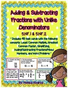 - Adding & Subtracting Fractions w/ Unlike Denominators Adding And Subtracting Fractions, Equivalent Fractions, Math Fractions, Least Common Multiple, Greatest Common Factors, Math Classroom, Classroom Ideas, Math Intervention, Math Journals
