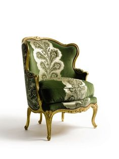 I like the style but not the fabric. a Louis XVI giltwood bergère à oreilles with five legs, circa Made by maître ébéniste Nicolas Heurtaut, it is upholstered in green velvet appliquéd with a blaze of peacock-feather-pattern silk. French Furniture, Antique Furniture, Furniture Design, Louis Seize, Love Chair, French Chairs, Louis Xvi, Take A Seat, Upholstered Furniture