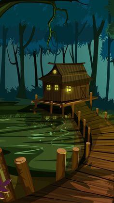 : Shack in the swamp - Bayou house Artistic Wallpaper, Graphic Wallpaper, Scenery Wallpaper, Galaxy Wallpaper, Nature Wallpaper, Wallpaper Art, Screen Wallpaper, Wallpaper Quotes, Fantasy Art Landscapes