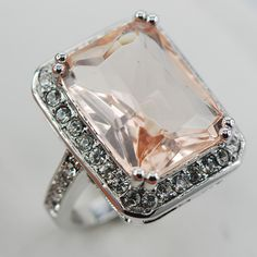 Morganite Fashion Women 925 Sterling Silver Ring F888 Size 6 7 8 9 10
