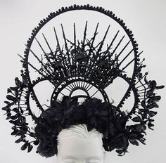 KALI Gothic Headdress WGT Black Spikes Crown Decorated Arch