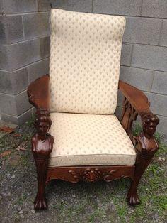 1820 Victorian Lion Lions Head Clawfoot Morris Chair