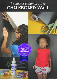 The Easiest & Damage-Free Chalkboard Wall via @sheenatatum