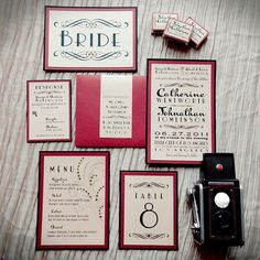 vintage wedding invitations| The 1910s Mix and match fonts and bold colors to create an old-time look.
