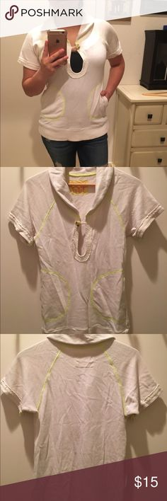 Free People Collared Sweater Top Free People banded bottom with button closure sweater. Contrast piping details. Good condition. Free People Sweaters Crew & Scoop Necks