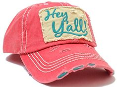 "Coral Pink & Turquoise SUMMER EXCLUSIVE ""Hey Y'all!"" Distressed Vintage Cap"