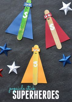 Popsicle Stick Superheroes – Kid #Craft #speechtherapy  http://www.speechtherapyfun.com/