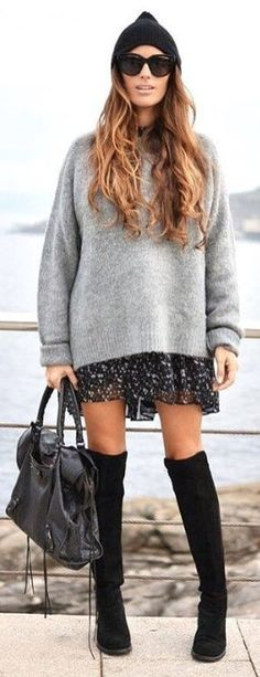 #winter #fashion / Black Beanie / Grey Knit / Printed Black Skirt / Black OTK Boots