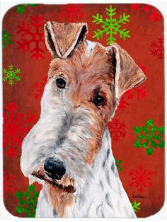 Caroline's Treasures Snowflakes Wire Fox Terrier Glass Cutting Board
