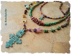 Star of Hope, Multiple Strand Rustic Gemstone Necklace, Boho Style Necklace, Bohemian Jewelry, BohoStyleMe, Kaye Kraus by BohoStyleMe on Etsy