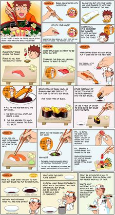 How to Eat Sushi by nikonikonj #Infographic #Sushi
