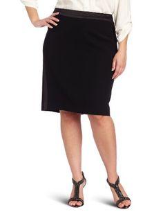 Anne Klein Women's Plus-size Tuxedo Skirt, Black, 14w
