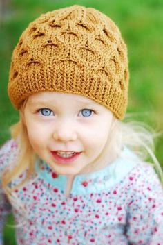 This cap has an easy repeating pattern that makes it a fun knit--no purls to interrupt your swift circular knitting, so you'll be done in a jiffy! Find this fun baby hat pattern at LoveKnitting.Com.
