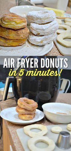 Minute Air Fryer Donuts Got 5 Minutes? Make these Air Fryer Donuts!Got 5 Minutes? Make these Air Fryer Donuts! Air Fryer Oven Recipes, Air Frier Recipes, Air Fryer Dinner Recipes, Air Fryer Recipes Donuts, Deep Fryer Recipes, Air Fryer Recipes Breakfast, Breakfast Cooking, Oreo Dessert, Mini Desserts