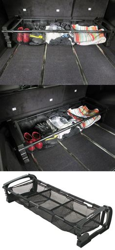 car accessories Versatile cargo holder that can be adjusted to fit your trunk and is compatible with the Subaru Outback Wagon. Car organization is a must while traveling! Organisation En Camping, Suv Trunk Organization, Organization Ideas, Organizing, 4x4, Casa Clean, Ideas Para Organizar, Camping Car, Camping Solo