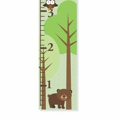 Woodland Bear and Owl Personalized Canvas Growth Chart