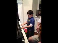 """6 Year boy with ASD plays and sings """"Piano Man"""" from his heart. so AMAZING!!"""