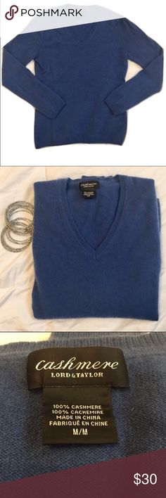 100% Cashmere Lord & Taylor size: medium Lord & Taylor Cashmere Blue V Neck Sweater Size: Medium.  100% Cashmere Good condition Approximate measurements laying: chest is about 17 inches and shoulders to bottom is about 23 inches. Questions? Please ask prior to purchasing. Lord & Taylor Sweaters V-Necks