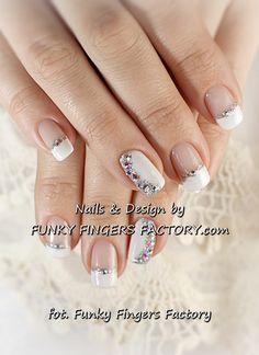 Gelish Wedding Manicure with Swarovski crystals www.funkyfingersfactory.com