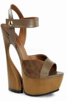 1b14af6e348 Brown Kid Leather Suede Ankle Strap Platform Sculptured Wedge Heel Pumps  Heels