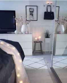 White gray blush and black bedroom - . White gray blush and black bedroom - seems your bedroom decor needs our help, so we& here! Black And Grey Bedroom, Grey Bedroom Design, Pink Bedroom Decor, Gray Bedroom, Trendy Bedroom, Bedroom Colors, Bedroom Designs, Ikea Bedroom, Bedroom Ideas Grey