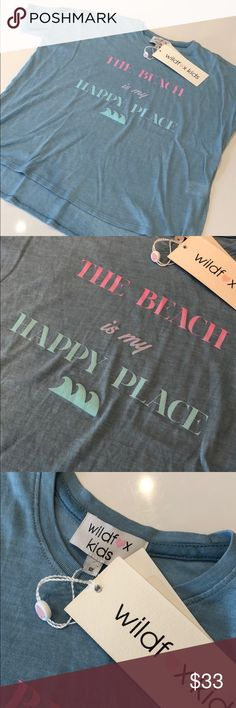 """Wildfox Kids Flowy Beach Shirt Wildfox Kids Sunny Morning boxy Tee. """"The Beach is my happy place"""" on front. Size: 12, Color: Dahlia (dusty blue) Wildfox Shirts & Tops Tees - Short Sleeve"""