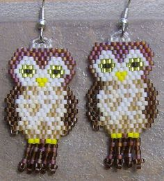 Owl Earrings Hand Made Seed Beaded