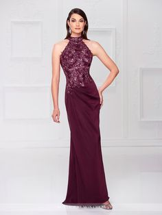 Montage by Mon Cheri - 117904 - Sleeveless two-tone chiffon sheath with high halter neckline, jewel hand-beaded and lace bodice, open back, side draped skirt with matching beaded accent at waist, sweep train. Matching shawl included.Sizes: 4 - 20Colors: Taupe, Burgundy