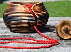 Rustic Yarn and Fiber Bowl by AdzeWoodcraft on Etsy