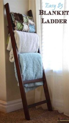 The best DIY projects & DIY ideas and tutorials: sewing, paper craft, DIY. DIY Furniture Plans & Tutorials : A blanket ladder is a great storage solution for bulky blankets and throws. Build this easy DIY blanket ladder for about Diy Blanket Ladder, Blanket Storage, Blanket Rack, Storage For Blankets, Quilt Ladder, Ladder For Blankets, Blanket Holder, Diy Blankets, Couch Blanket