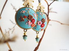 Light Blue base earrings and flowers in red by DZHandmadeProducts, $33.30