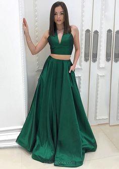 Long Ball Dresses Green, V-neck Prom Dresses 2018, Princess Evening Dresses, Floor-length Formal Dresses Cheap